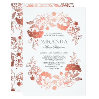 Carte Douche nuptiale blanche élégante florale d'or rose