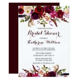 Carte Douche nuptiale d'automne floral rustique de