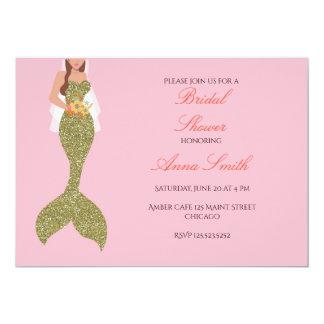 Carte Douche nuptiale de brune d'invitation rose de