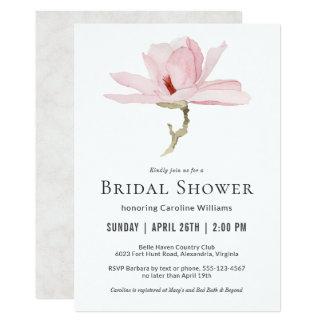 Carte Douche nuptiale de fleur rose élégante de magnolia