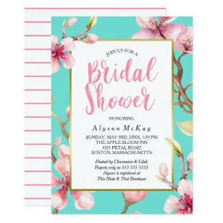 Carte Douche nuptiale de fleurs de cerisier d'aquarelle