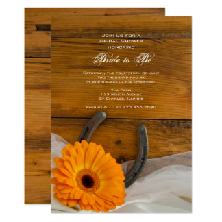 Carte Douche nuptiale de pays de marguerite orange et de