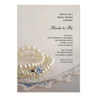 Carte Douche nuptiale de perles, d'anneau et de dentelle