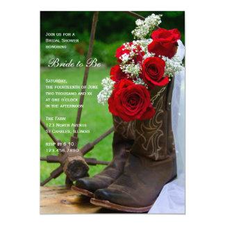 Carte Douche nuptiale de roses de cowboy de pays