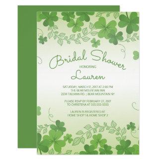 Carte Douche nuptiale de shamrock irlandais moderne