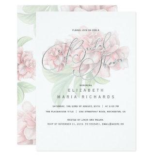 Carte Douche nuptiale de typographie florale rose