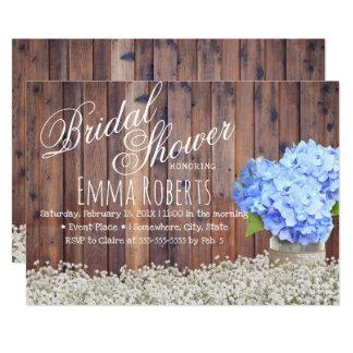 Carte Douche nuptiale d'hortensia bleu du souffle du