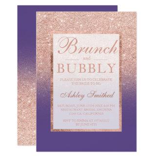 Carte Douche nuptiale d'or de lbrunch pourpre rose de