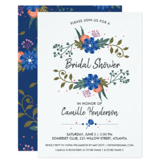 Carte Douche nuptiale épousant les fleurs assez bleues