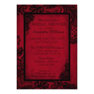 Carte Douche nuptiale gothique de dentelle rouge et
