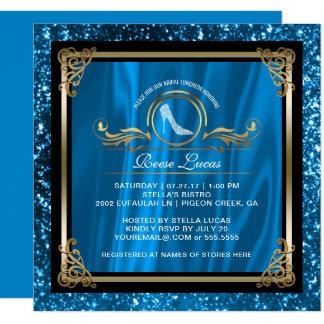 Carte Douche nuptiale l'épousant bleue de l'or | de