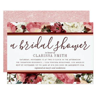 Carte Douche nuptiale rose de fleurs d'or et de