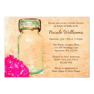 Carte Douche nuptiale rose de pot de maçon d'aquarelle
