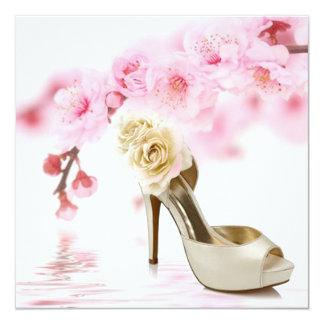 Carte douche nuptiale rose de Sakura de fleurs de