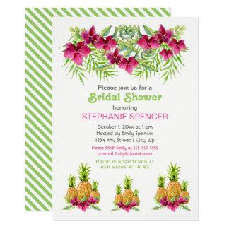 Carte Douche nuptiale tropicale de fougères d'orchidées