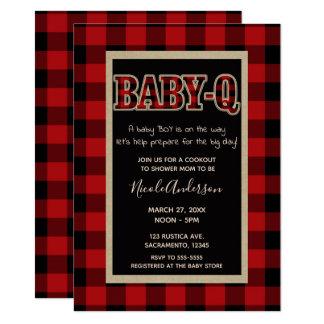 Carte Douche rouge de BBQ du BÉBÉ Q de plaid de Buffalo