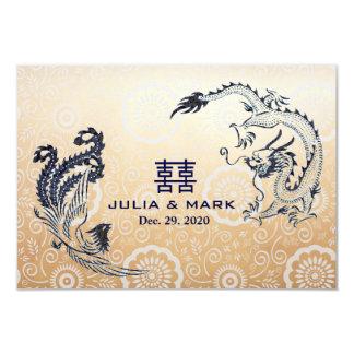 Carte Dragon-Phoenix moderne RSVP l'épousant chinois