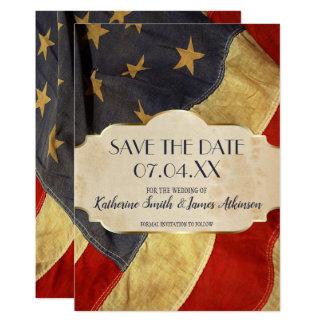 Carte Drapeau vintage patriotique de mariage militaire