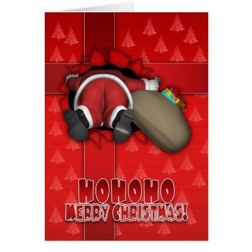 Carte drôle de Joyeux Noël - Père Noël tombé à l'i