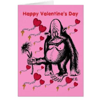 Carte drôle de singe de Saint-Valentin