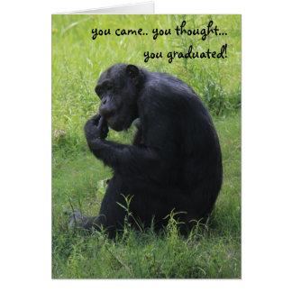 Carte drôle d'obtention du diplôme, chimpanzé, le