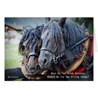 Carte drôle et humoristique de retraite de cheval