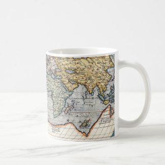 Carte du 16ème siècle antique du monde tasses