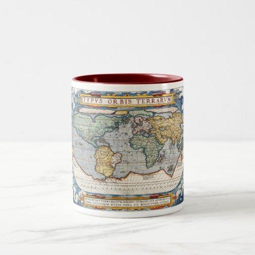 Carte du 16ème siècle antique du monde tasse