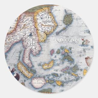 Carte du 16ème siècle d'Asie du Sud-Est et de l'In Autocollants
