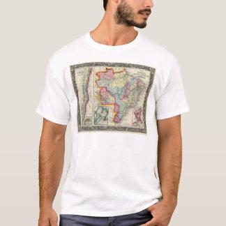 Carte du Brésil, de la Bolivie, du Paraguay, et de T-shirt