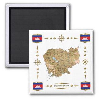 Carte du Cambodge + Aimant de drapeaux