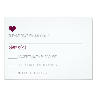 Carte du coeur RSVP de Bourgogne Carton D'invitation 8,89 Cm X 12,70 Cm