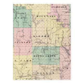Carte du comté de Barron, état du Wisconsin