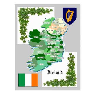 Carte du comté de l'Irlande Carte Postale