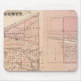 Carte du comté de Porter avec Chesterton, Hebron Tapis De Souris