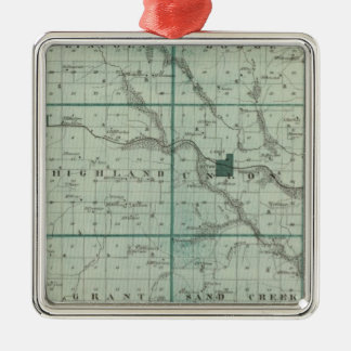 Carte du comté de Union, état de l'Iowa Ornement Carré Argenté
