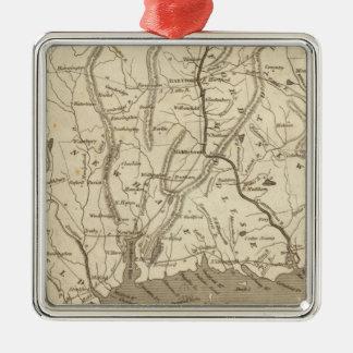 Carte du Connecticut par Arrowsmith Ornement Carré Argenté