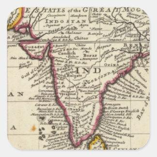 Carte du continent des Indes est Sticker Carré