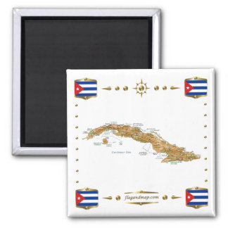 Carte du Cuba + Aimant de drapeaux