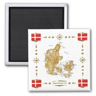 Carte du Danemark + Aimant de drapeaux