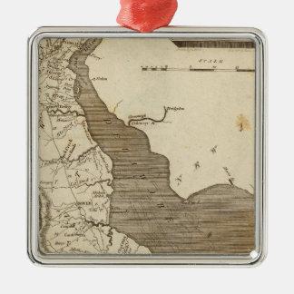 Carte du Delaware par Arrowsmith Ornement Carré Argenté