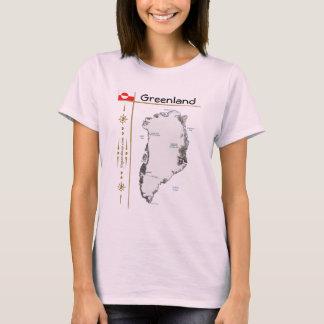 Carte du Groenland + Drapeau + T-shirt de titre