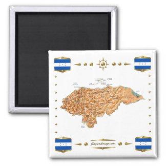 Carte du Honduras + Aimant de drapeaux