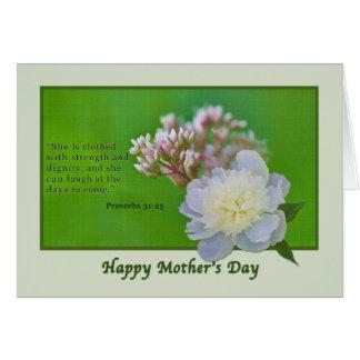 Carte du jour de mère avec les fleurs roses et
