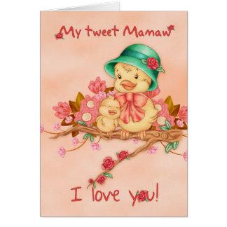 Carte du jour de mère avec l'oiseau de bébé et de