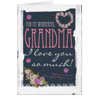 Carte du jour de mère de grand-maman à la mode et