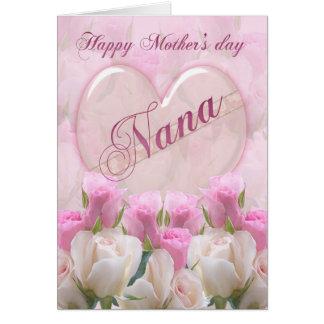 Carte du jour de mère de Nana avec les roses roses