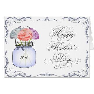 Carte du jour de mère de pot de maçon