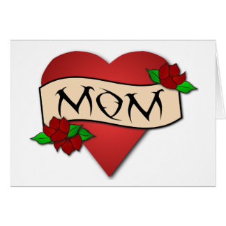 Carte du jour de mère de tatouage de coeur de