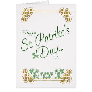Carte du jour de St Patrick avec le noeud de